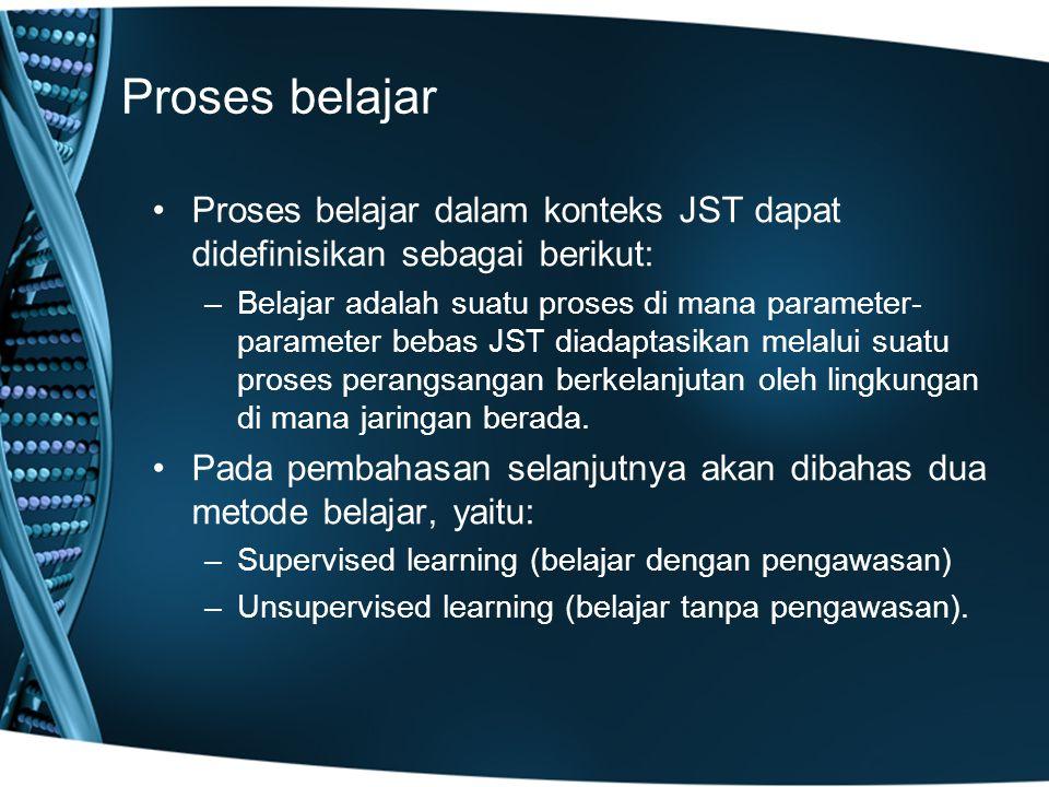 Proses belajar Proses belajar dalam konteks JST dapat didefinisikan sebagai berikut: –Belajar adalah suatu proses di mana parameter- parameter bebas JST diadaptasikan melalui suatu proses perangsangan berkelanjutan oleh lingkungan di mana jaringan berada.