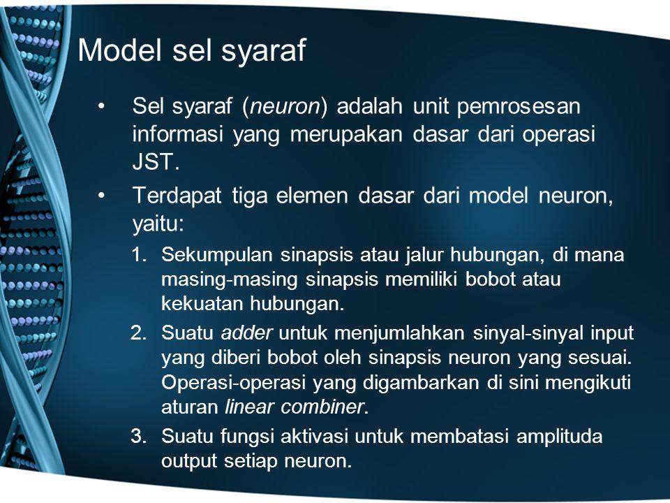 Model sel syaraf Sel syaraf (neuron) adalah unit pemrosesan informasi yang merupakan dasar dari operasi JST. Terdapat tiga elemen dasar dari model neu