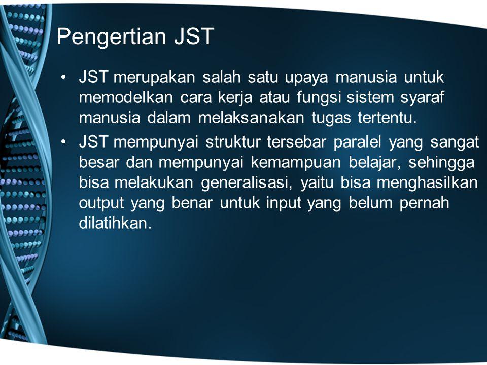 Pengertian JST JST merupakan salah satu upaya manusia untuk memodelkan cara kerja atau fungsi sistem syaraf manusia dalam melaksanakan tugas tertentu.
