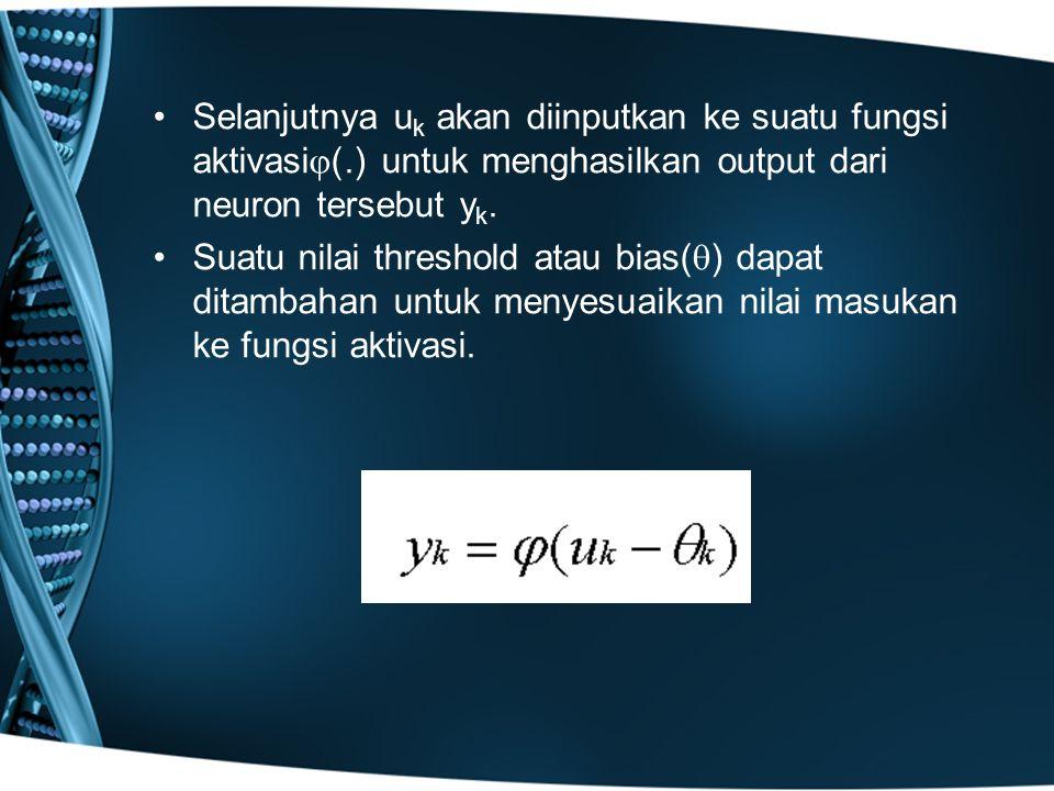 Selanjutnya u k akan diinputkan ke suatu fungsi aktivasi  (.) untuk menghasilkan output dari neuron tersebut y k. Suatu nilai threshold atau bias( 