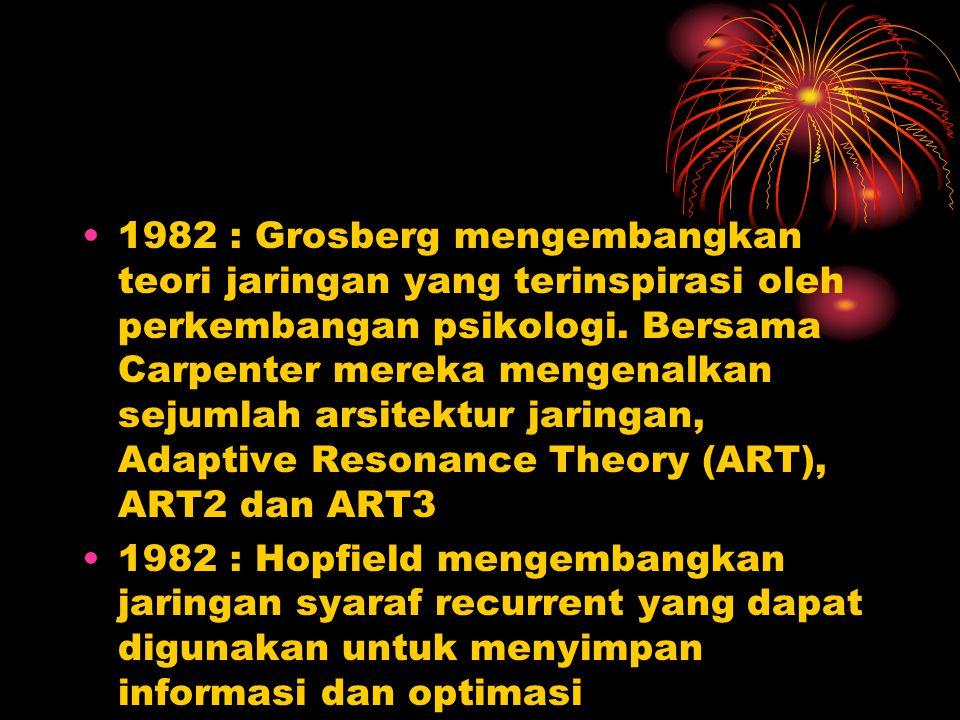 1982 : Grosberg mengembangkan teori jaringan yang terinspirasi oleh perkembangan psikologi. Bersama Carpenter mereka mengenalkan sejumlah arsitektur j