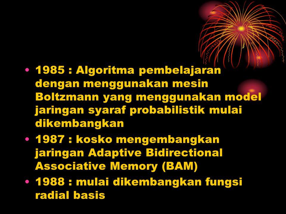 1985 : Algoritma pembelajaran dengan menggunakan mesin Boltzmann yang menggunakan model jaringan syaraf probabilistik mulai dikembangkan 1987 : kosko