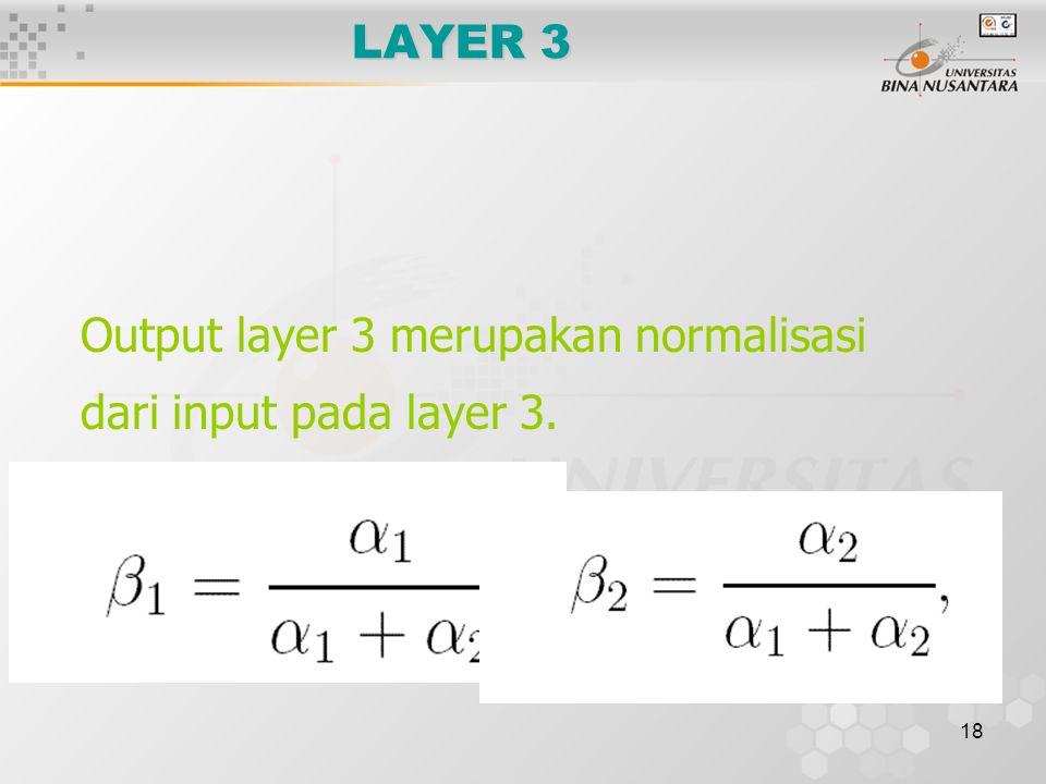 18 LAYER 3 Output layer 3 merupakan normalisasi dari input pada layer 3.