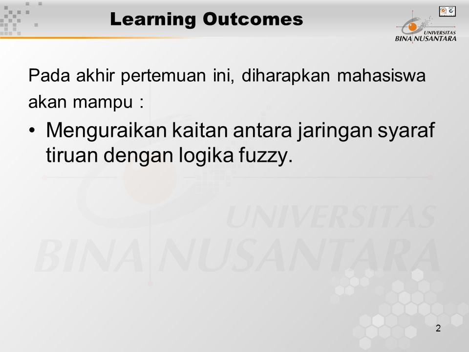 2 Learning Outcomes Pada akhir pertemuan ini, diharapkan mahasiswa akan mampu : Menguraikan kaitan antara jaringan syaraf tiruan dengan logika fuzzy.