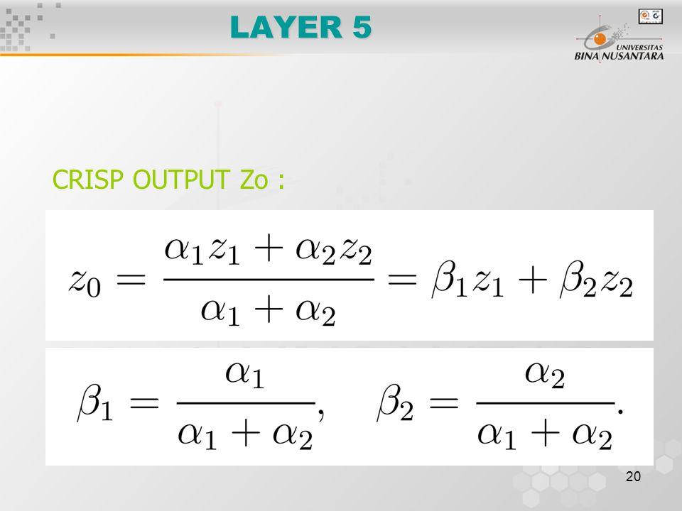 20 LAYER 5 CRISP OUTPUT Zo :