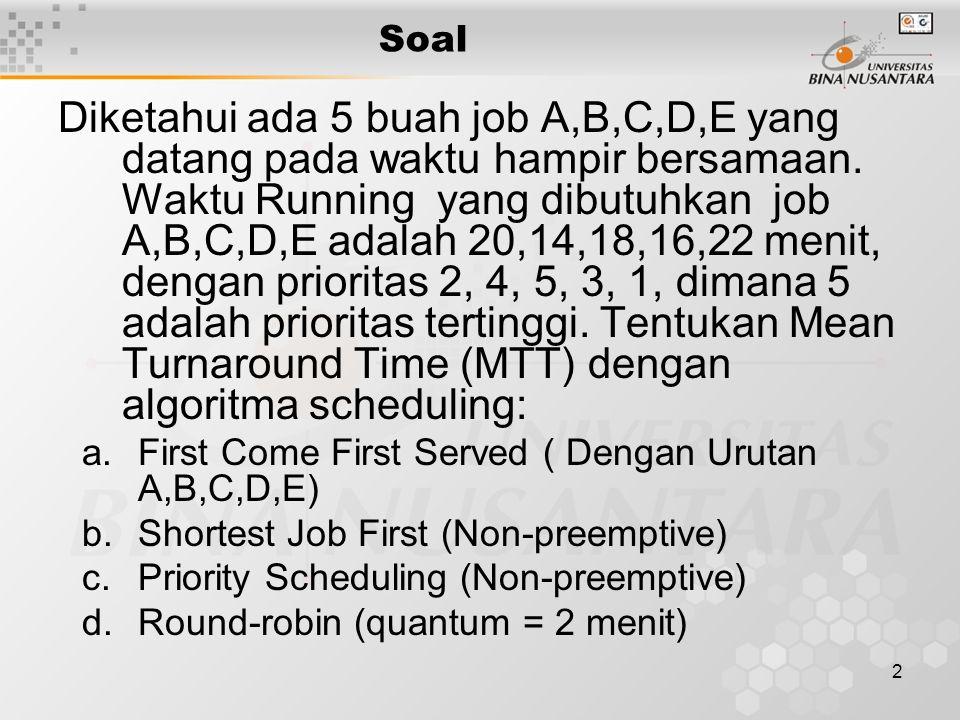 2 Soal Diketahui ada 5 buah job A,B,C,D,E yang datang pada waktu hampir bersamaan.