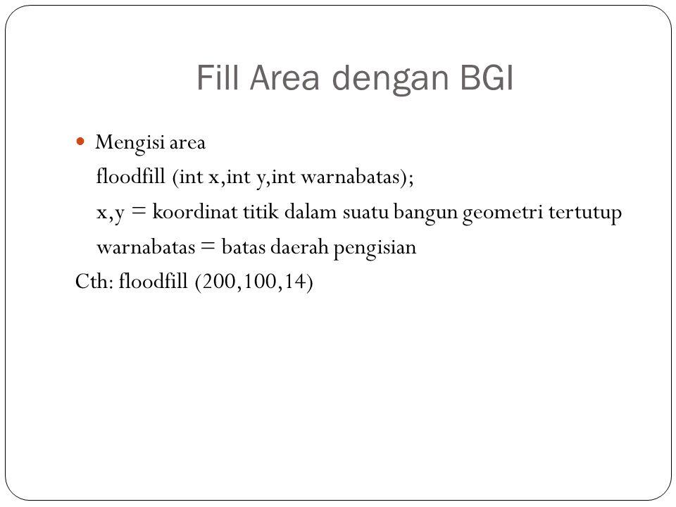 Fill Area dengan BGI Mengisi area floodfill (int x,int y,int warnabatas); x,y = koordinat titik dalam suatu bangun geometri tertutup warnabatas = bata