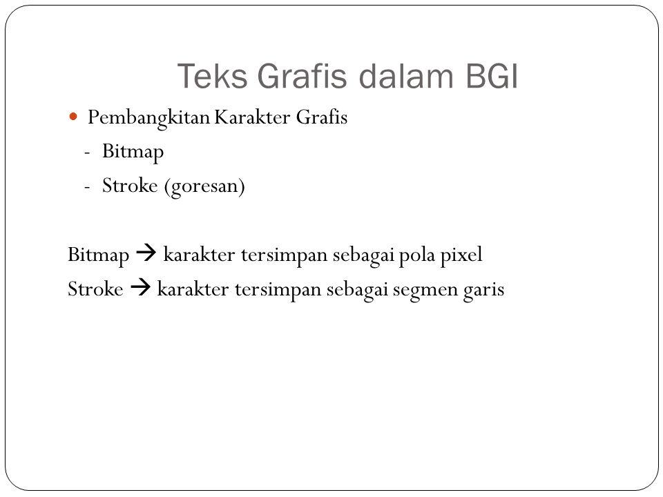 Teks Grafis dalam BGI Pembangkitan Karakter Grafis - Bitmap - Stroke (goresan) Bitmap  karakter tersimpan sebagai pola pixel Stroke  karakter tersim