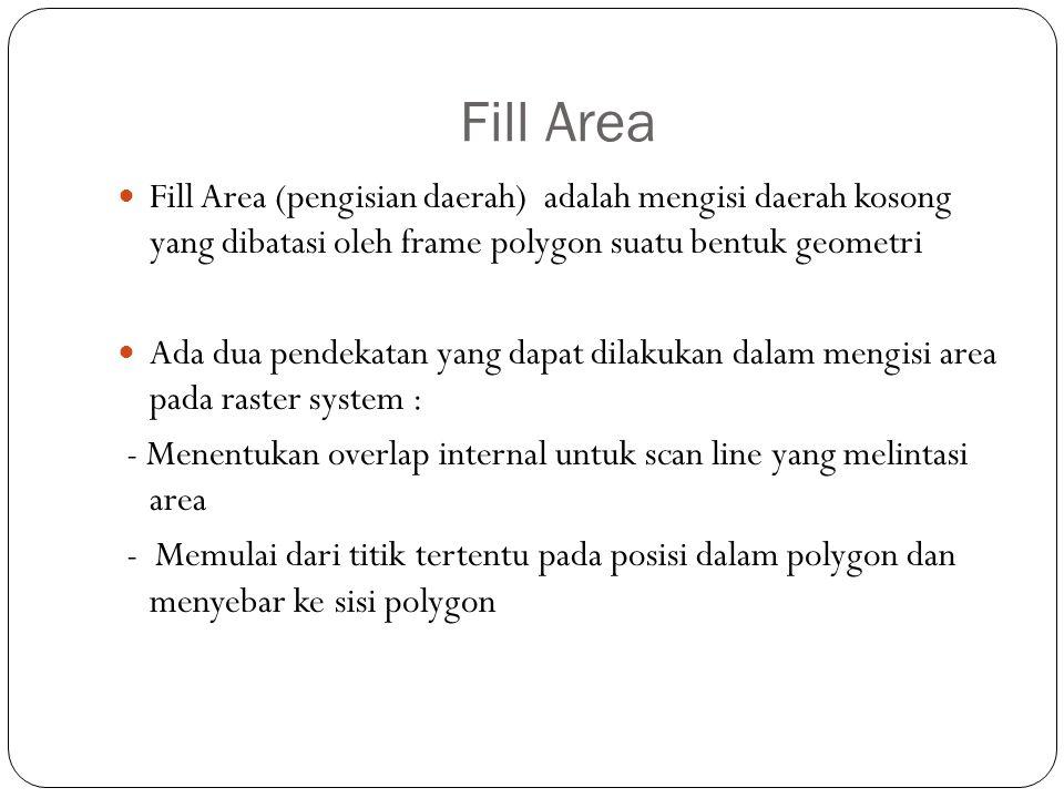 Fill Area Fill Area (pengisian daerah) adalah mengisi daerah kosong yang dibatasi oleh frame polygon suatu bentuk geometri Ada dua pendekatan yang dap
