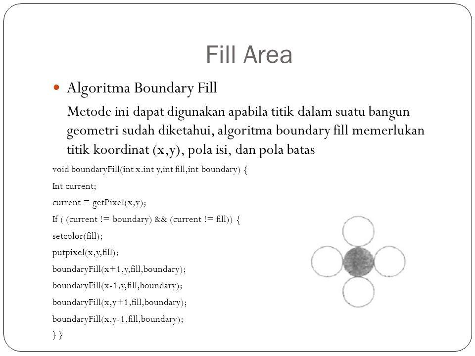 Fill Area Algoritma Boundary Fill Metode ini dapat digunakan apabila titik dalam suatu bangun geometri sudah diketahui, algoritma boundary fill memerl
