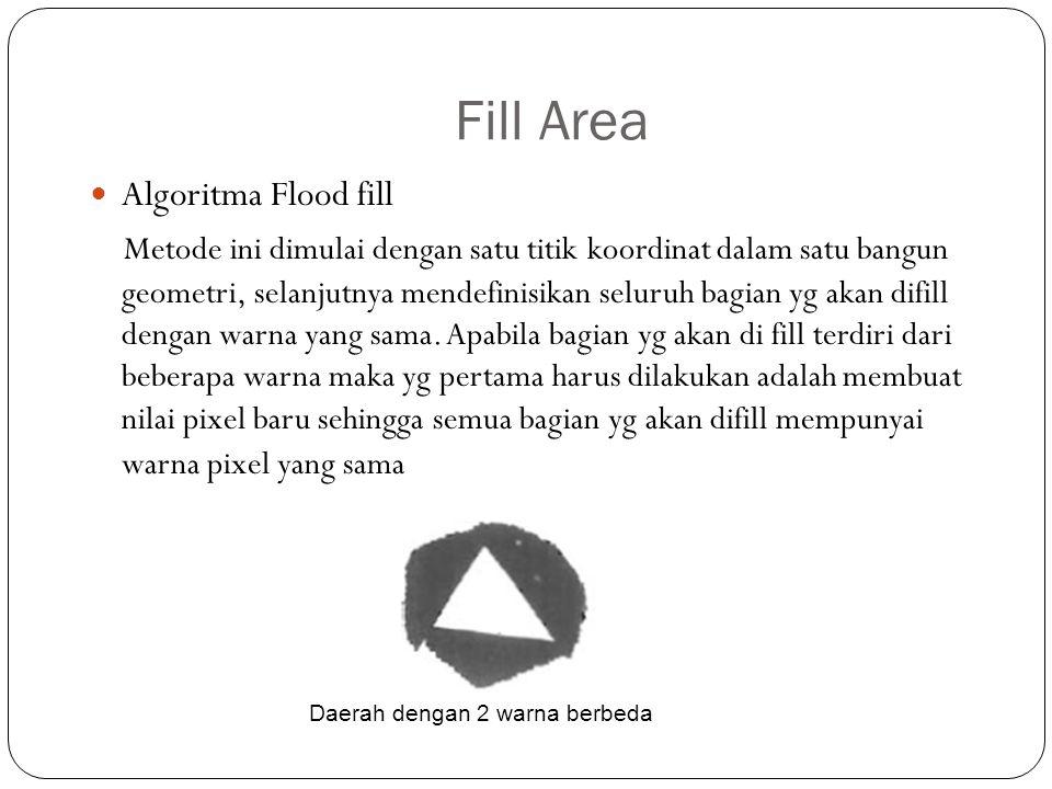 Fill Area Algoritma Flood fill Metode ini dimulai dengan satu titik koordinat dalam satu bangun geometri, selanjutnya mendefinisikan seluruh bagian yg