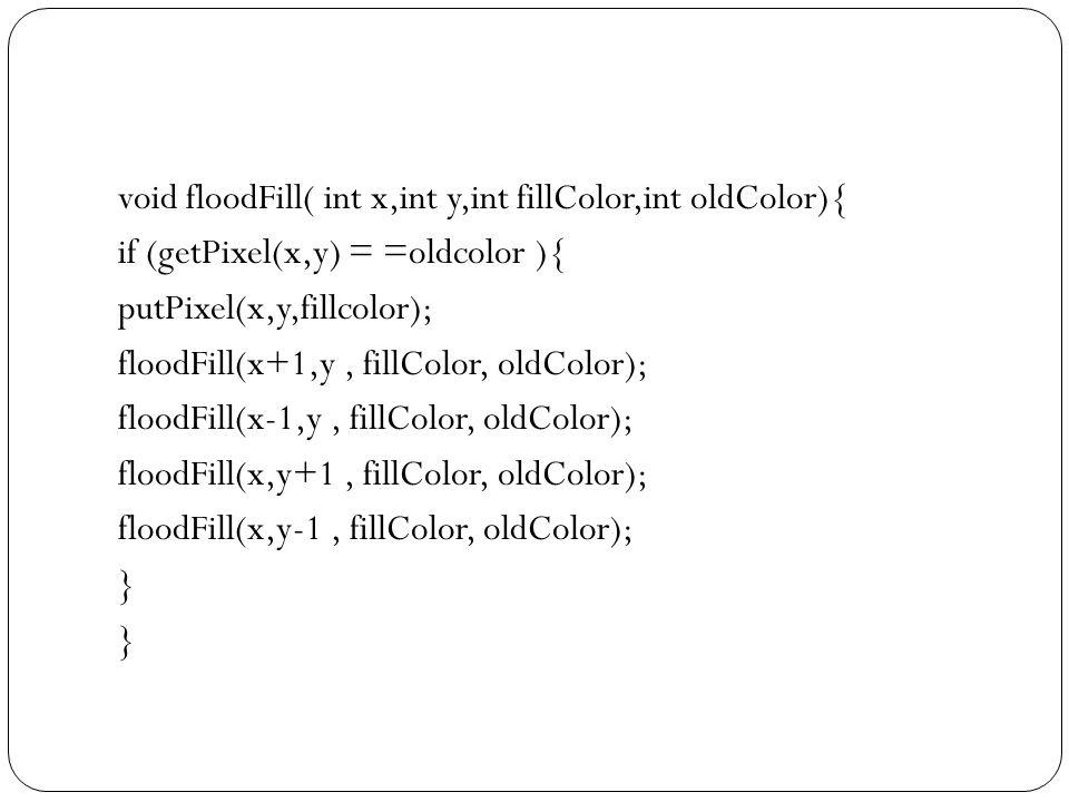 Fill area dengan BGI BGI menyediakan fungsi untuk memilih corak dan mengisi suatu bangun geometri tertutup Untuk memilih corak setFillStyle(pola,warna) Pola : emptyFill,solidFill,lineFill,ltSlashFill,bkSlashFill,ltBkSlashFill,hatchFill,xHatchFill,interLeaveFill,wideDotFill,closeDotFill,userFill Cth: setfillstyle(1,14);