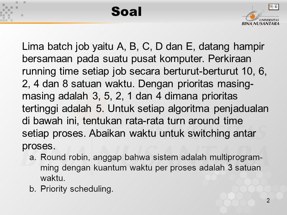 Soal 2 Lima batch job yaitu A, B, C, D dan E, datang hampir bersamaan pada suatu pusat komputer.