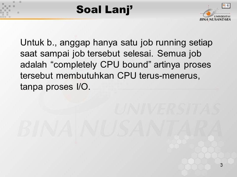 Soal Lanj' 3 Untuk b., anggap hanya satu job running setiap saat sampai job tersebut selesai.