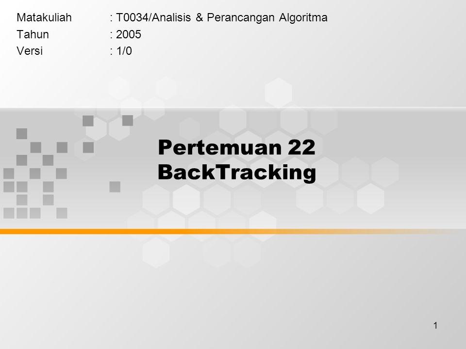 1 Pertemuan 22 BackTracking Matakuliah: T0034/Analisis & Perancangan Algoritma Tahun: 2005 Versi: 1/0