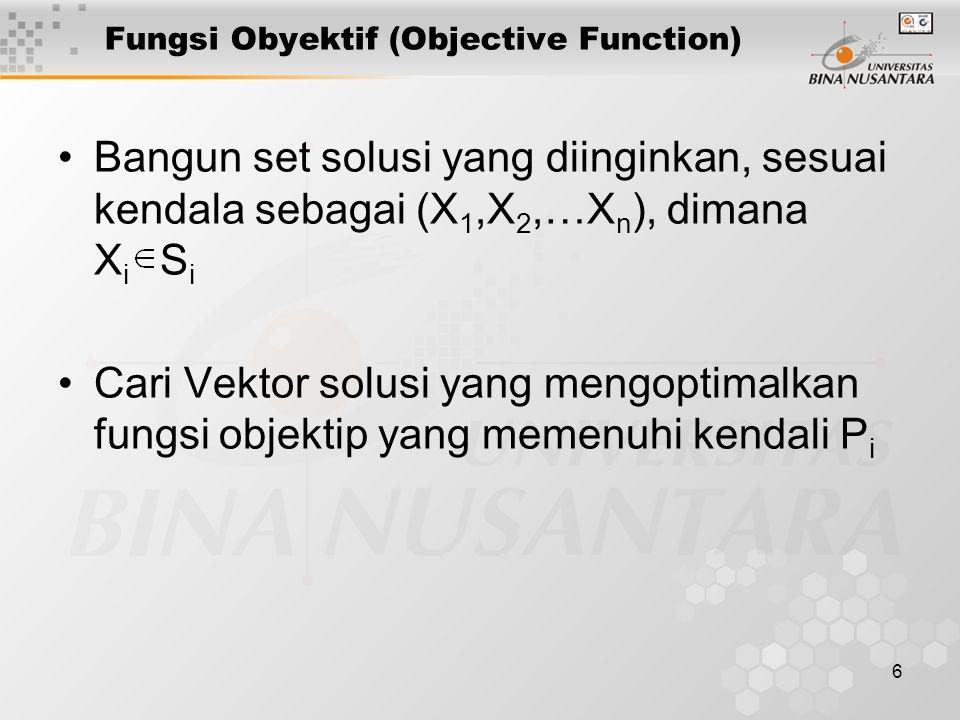 6 Fungsi Obyektif (Objective Function) Bangun set solusi yang diinginkan, sesuai kendala sebagai (X 1,X 2,…X n ), dimana X i S i Cari Vektor solusi ya