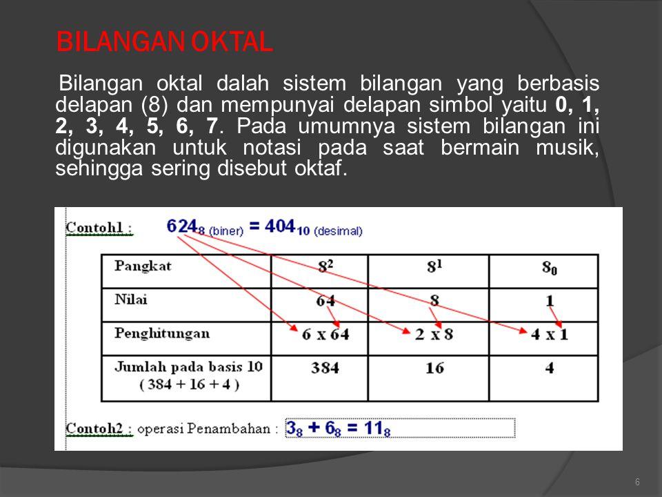 6 BILANGAN OKTAL Bilangan oktal dalah sistem bilangan yang berbasis delapan (8) dan mempunyai delapan simbol yaitu 0, 1, 2, 3, 4, 5, 6, 7. Pada umumny