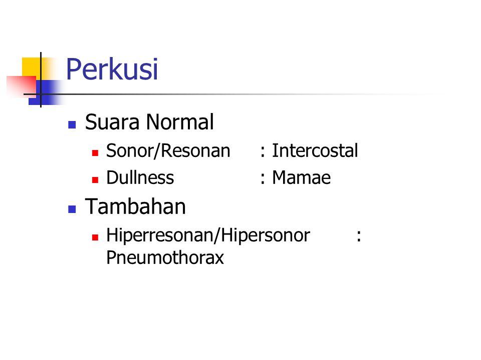 Perkusi Suara Normal Sonor/Resonan: Intercostal Dullness: Mamae Tambahan Hiperresonan/Hipersonor: Pneumothorax