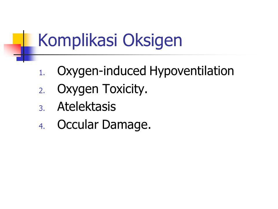 Komplikasi Oksigen 1. Oxygen-induced Hypoventilation 2. Oxygen Toxicity. 3. Atelektasis 4. Occular Damage.