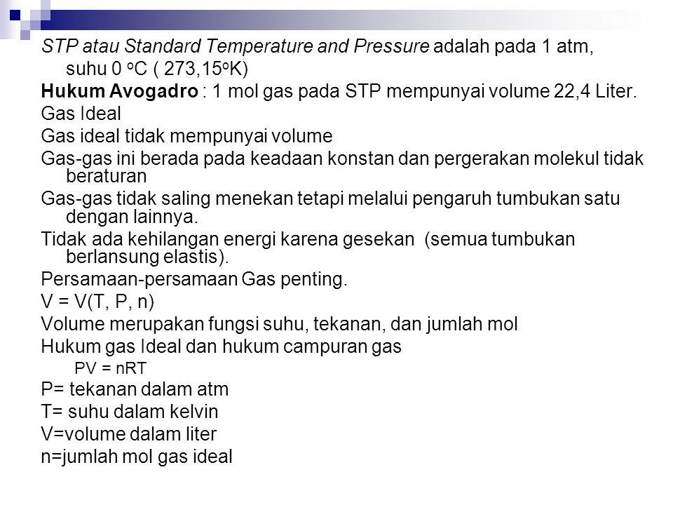 STP atau Standard Temperature and Pressure adalah pada 1 atm, suhu 0 o C ( 273,15 o K) Hukum Avogadro : 1 mol gas pada STP mempunyai volume 22,4 Liter