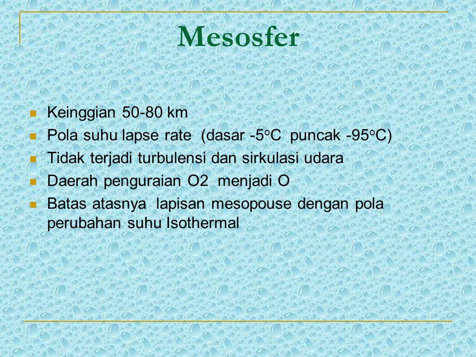 Mesosfer Keinggian 50-80 km Pola suhu lapse rate (dasar -5 o C puncak -95 o C) Tidak terjadi turbulensi dan sirkulasi udara Daerah penguraian O2 menja