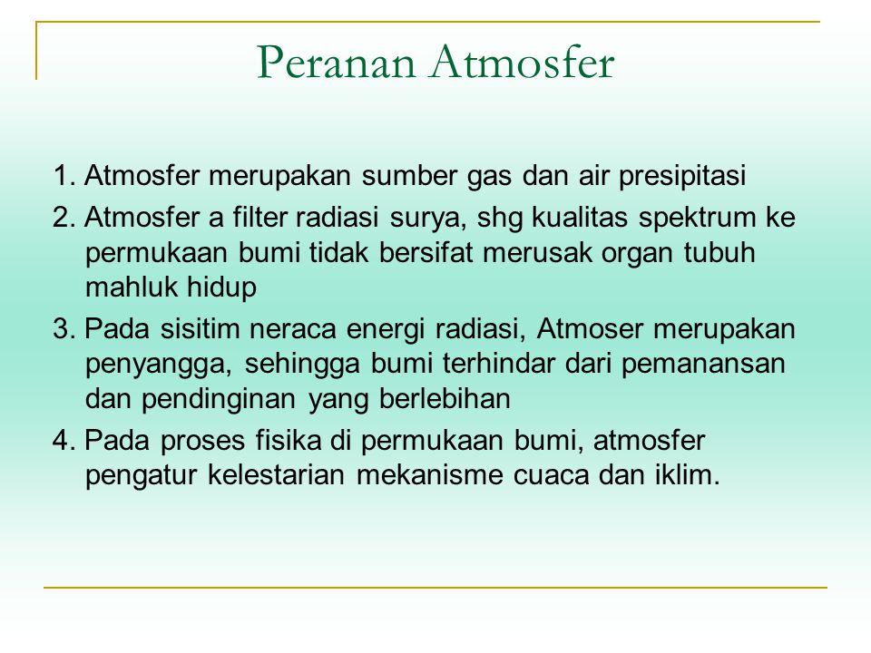 Peranan Atmosfer 1. Atmosfer merupakan sumber gas dan air presipitasi 2. Atmosfer a filter radiasi surya, shg kualitas spektrum ke permukaan bumi tida