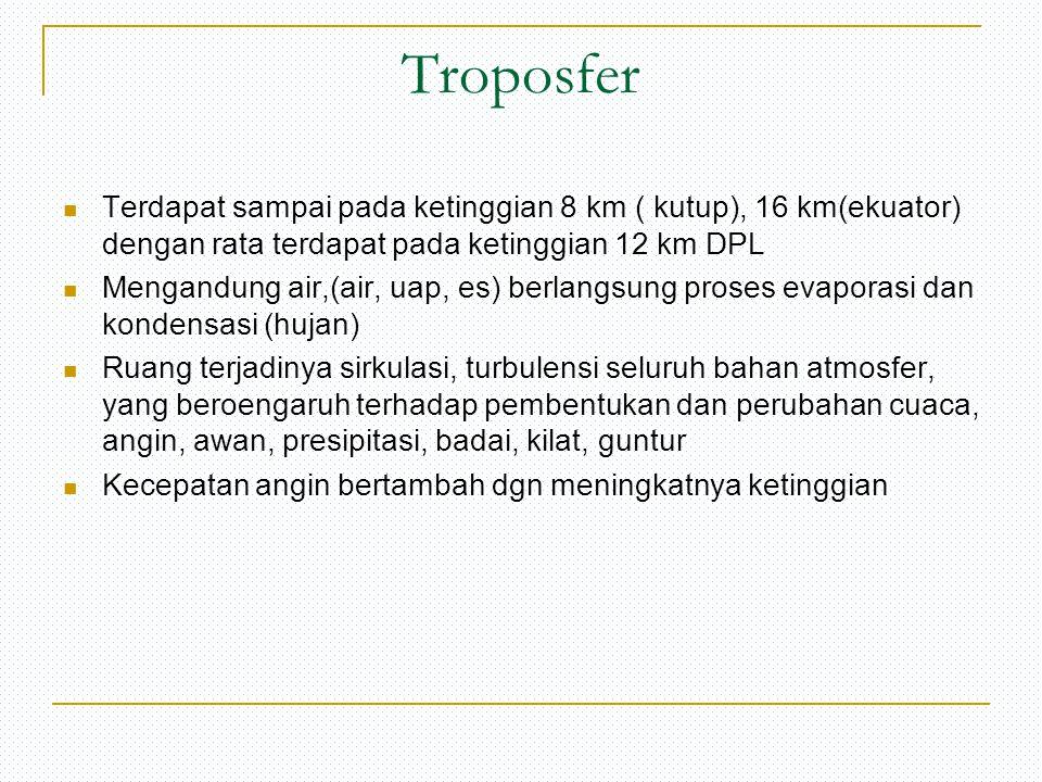 Troposfer Terdapat sampai pada ketinggian 8 km ( kutup), 16 km(ekuator) dengan rata terdapat pada ketinggian 12 km DPL Mengandung air,(air, uap, es) b