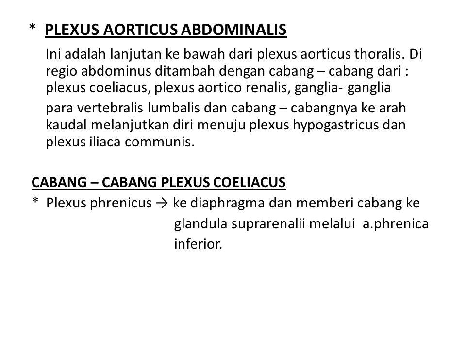 * PLEXUS AORTICUS ABDOMINALIS Ini adalah lanjutan ke bawah dari plexus aorticus thoralis. Di regio abdominus ditambah dengan cabang – cabang dari : pl