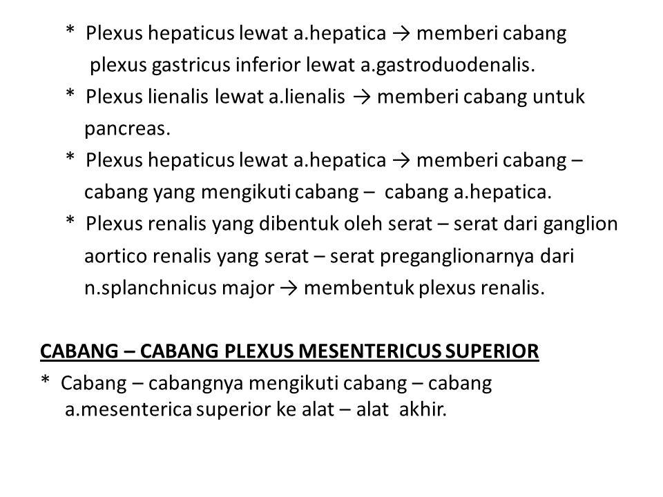 * Plexus hepaticus lewat a.hepatica → memberi cabang plexus gastricus inferior lewat a.gastroduodenalis. * Plexus lienalis lewat a.lienalis → memberi