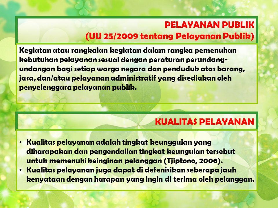 PELAYANAN PUBLIK (UU 25/2009 tentang Pelayanan Publik) Kegiatan atau rangkaian kegiatan dalam rangka pemenuhan kebutuhan pelayanan sesuai dengan perat