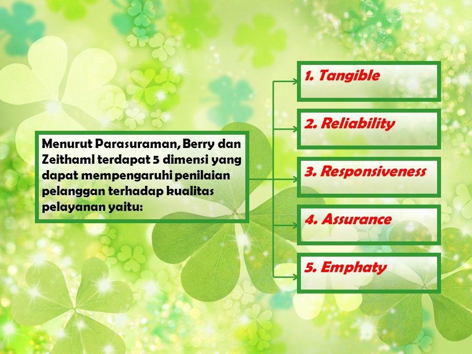 Menurut Parasuraman, Berry dan Zeithaml terdapat 5 dimensi yang dapat mempengaruhi penilaian pelanggan terhadap kualitas pelayanan yaitu: 1. Tangible