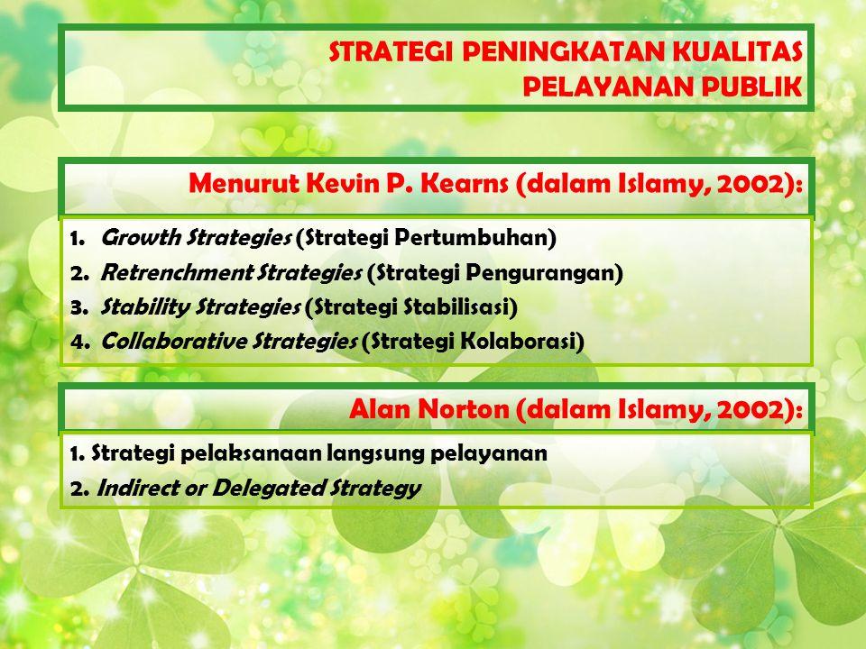 Menurut Kevin P. Kearns (dalam Islamy, 2002): 1. Growth Strategies (Strategi Pertumbuhan) 2. Retrenchment Strategies (Strategi Pengurangan) 3. Stabili
