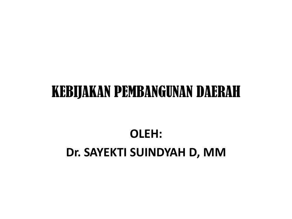 KEBIJAKAN PEMBANGUNAN DAERAH OLEH: Dr. SAYEKTI SUINDYAH D, MM