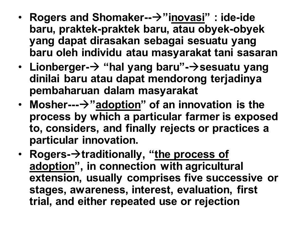 Peran Utama Penyuluhan dalam Proses Adopsi suatu Inovasi Membantu sasaran menjadi sadar tentang adanya suatu inovasi baru Membicarakan dengan sasaran lainnya sehingga mereka menjadi tertarik Membantu sasaran melakukan penilaian Memberikan dorongan dan membantu sasaran melakukan percobaaan