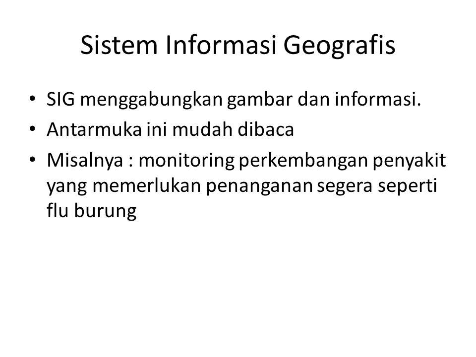 Sistem Informasi Geografis SIG menggabungkan gambar dan informasi. Antarmuka ini mudah dibaca Misalnya : monitoring perkembangan penyakit yang memerlu