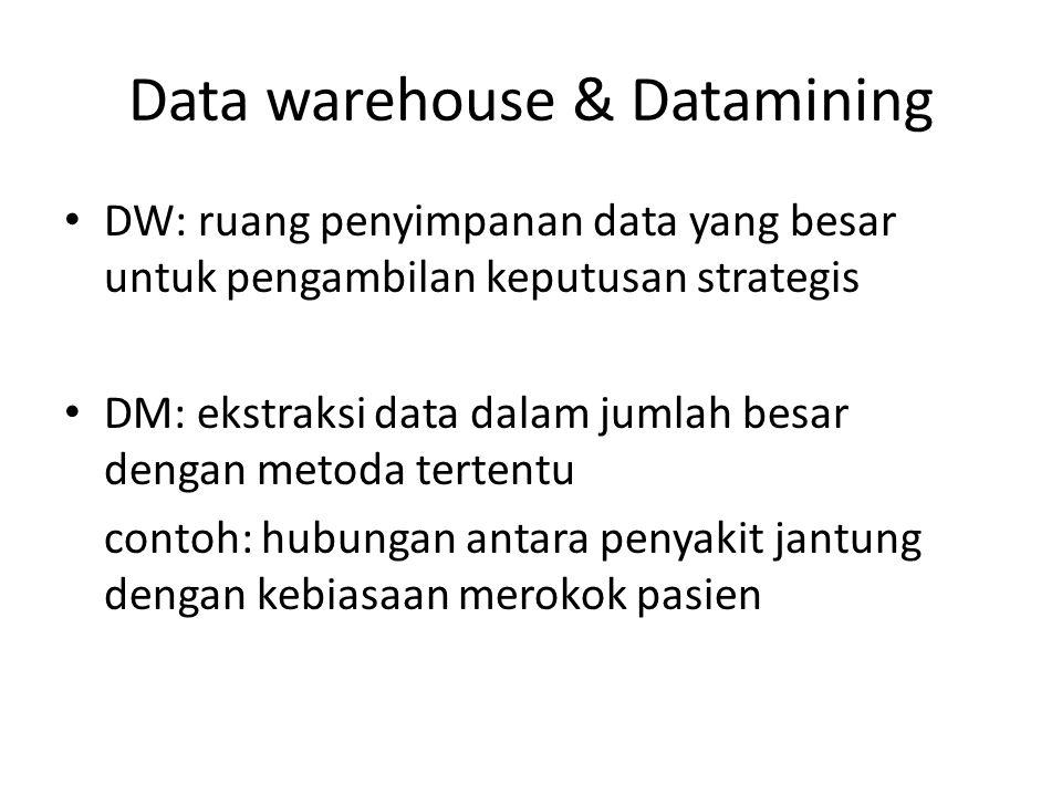 Data warehouse & Datamining DW: ruang penyimpanan data yang besar untuk pengambilan keputusan strategis DM: ekstraksi data dalam jumlah besar dengan m