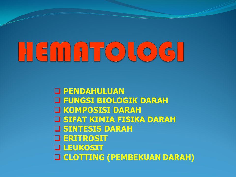 ERITROPOIESIS ADALAH : SUATU PROSES PEMBENTUKKAN ERITROSIT DI DALAM ORGAN ERITROPETIK ORGAN ERITROPOIETIK : TEMPAT ATAU ORGAN PEMBENTUKKAN ERITROSIT ZAT ERITROPOIETIN (=ERYTROPOIETIC STIMULANTING FACTOR) = ESF) : ZAT YANG MENGATUR /MERANGSANG PEMBENTUKKAN ERITROSIT ERITROPOIESIS MENINGKAT BILA JUMLAH OKSIGEN YANG DITRANSPORT KE SEL-SEL TUBUH BERKURANG (HIPOKSIA : SEL KEKURANGAN O2)