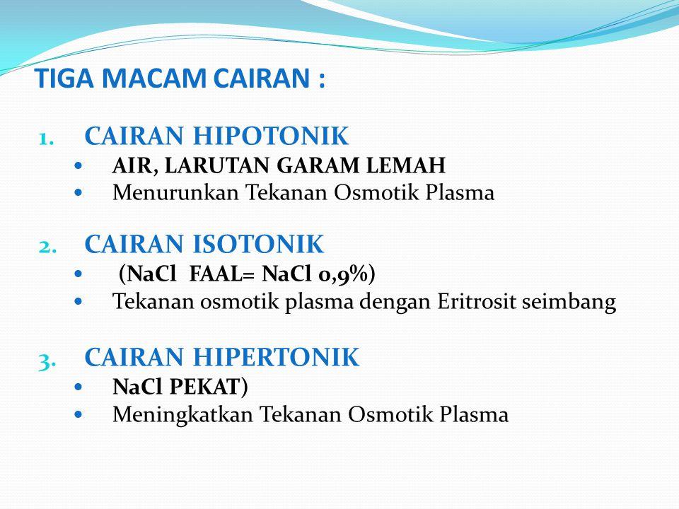 TIGA MACAM CAIRAN : 1. CAIRAN HIPOTONIK AIR, LARUTAN GARAM LEMAH Menurunkan Tekanan Osmotik Plasma 2. CAIRAN ISOTONIK (NaCl FAAL= NaCl 0,9%) Tekanan o