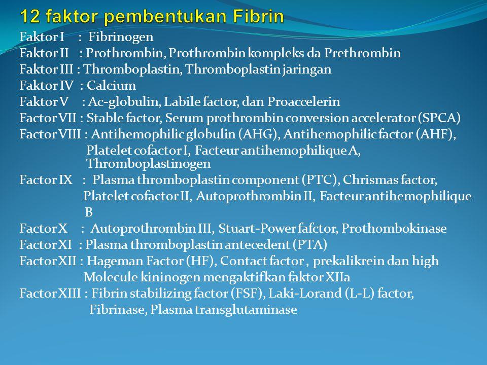 Faktor I : Fibrinogen Faktor II : Prothrombin, Prothrombin kompleks da Prethrombin Faktor III : Thromboplastin, Thromboplastin jaringan Faktor IV : Calcium Faktor V : Ac-globulin, Labile factor, dan Proaccelerin Factor VII : Stable factor, Serum prothrombin conversion accelerator (SPCA) Factor VIII : Antihemophilic globulin (AHG), Antihemophilic factor (AHF), Platelet cofactor I, Facteur antihemophilique A, Thromboplastinogen Factor IX : Plasma thromboplastin component (PTC), Chrismas factor, Platelet cofactor II, Autoprothrombin II, Facteur antihemophilique B Factor X : Autoprothrombin III, Stuart-Power fafctor, Prothombokinase Factor XI : Plasma thromboplastin antecedent (PTA) Factor XII : Hageman Factor (HF), Contact factor, prekalikrein dan high Molecule kininogen mengaktifkan faktor XIIa Factor XIII : Fibrin stabilizing factor (FSF), Laki-Lorand (L-L) factor, Fibrinase, Plasma transglutaminase