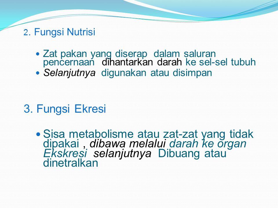 2. Fungsi Nutrisi Zat pakan yang diserap dalam saluran pencernaan dihantarkan darah ke sel-sel tubuh Selanjutnya digunakan atau disimpan 3. Fungsi Ekr