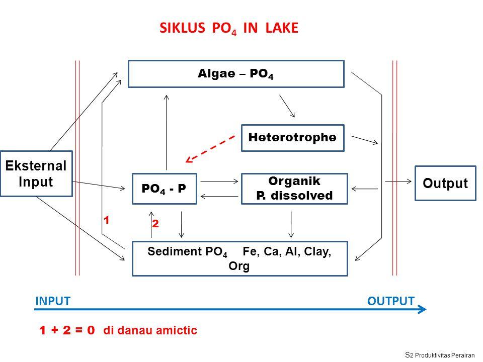 Algae – PO 4 Sediment PO 4 Fe, Ca, Al, Clay, Org Organik P. dissolved Output Heterotrophe PO 4 - P Eksternal Input INPUTOUTPUT SIKLUS PO 4 IN LAKE 1 2