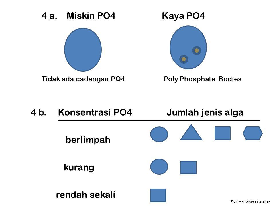 4 a. Miskin PO4 Kaya PO4 4 b. Konsentrasi PO4 Jumlah jenis alga berlimpah kurang rendah sekali Tidak ada cadangan PO4Poly Phosphate Bodies S 2 Produkt