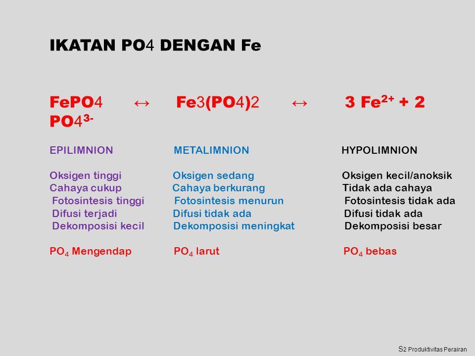 IKATAN PO 4 DENGAN Fe FePO 4 ↔ Fe 3 (PO 4 ) 2 ↔ 3 Fe 2+ + 2 PO 4 3- EPILIMNION METALIMNION HYPOLIMNION Oksigen tinggi Oksigen sedang Oksigen kecil/anoksik Cahaya cukup Cahaya berkurang Tidak ada cahaya Fotosintesis tinggi Fotosintesis menurun Fotosintesis tidak ada Difusi terjadi Difusi tidak ada Difusi tidak ada Dekomposisi kecil Dekomposisi meningkat Dekomposisi besar PO 4 Mengendap PO 4 larut PO 4 bebas S 2 Produktivitas Perairan