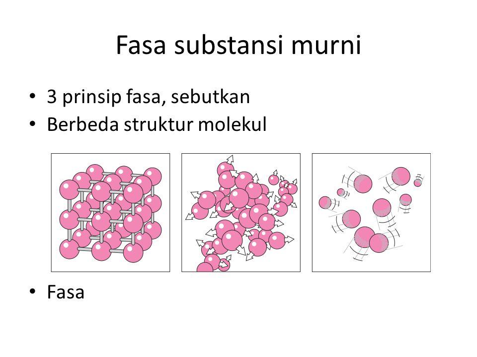 Fasa substansi murni 3 prinsip fasa, sebutkan Berbeda struktur molekul Fasa