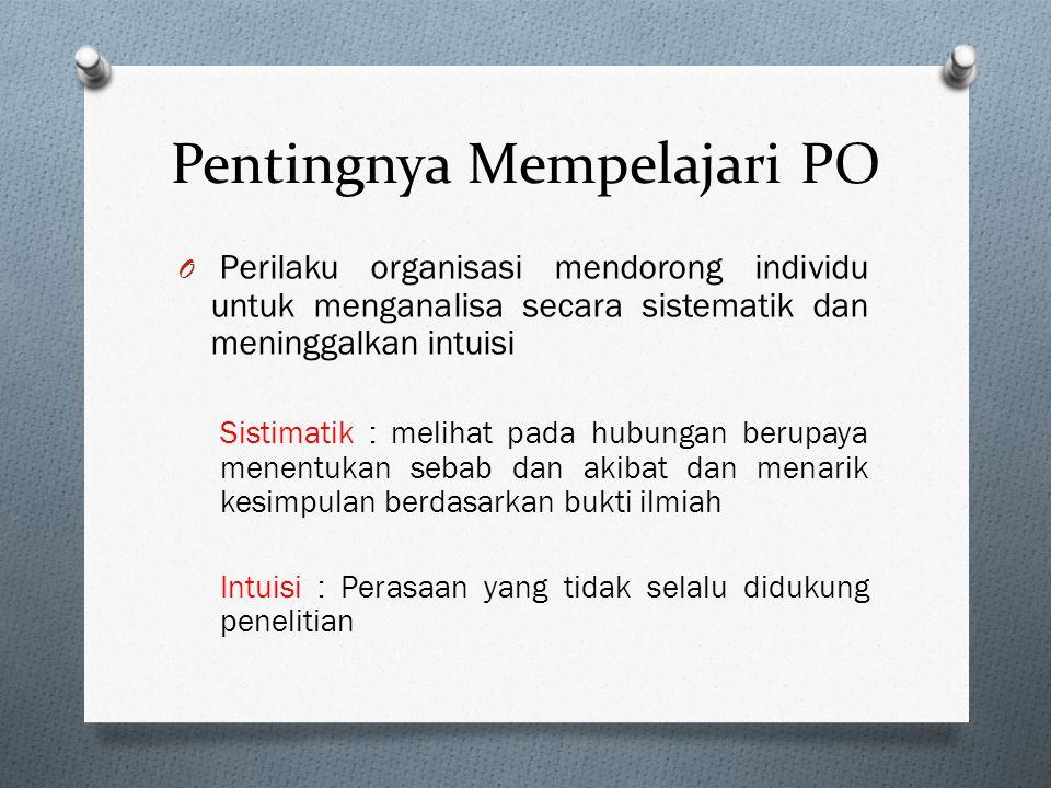 Pentingnya Mempelajari PO O Perilaku Organisasi Studi mengenai apa yang dilakukan orang-orang dalam organisasi dan bagaimana perilaku tersebut mempeng