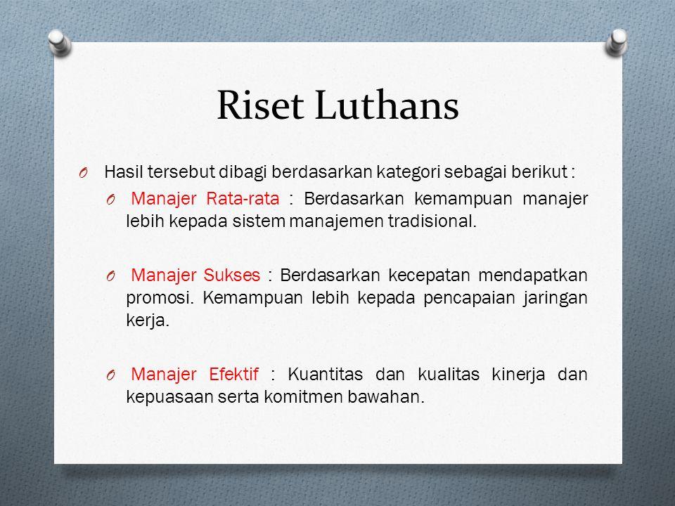 O Luthan dan rekannya meneliti 450 manajer, mereka menemukan ada 4 kegiatan manajerial : O Manajemen Tradisional: Pengambilan keputusan, perencanaan,
