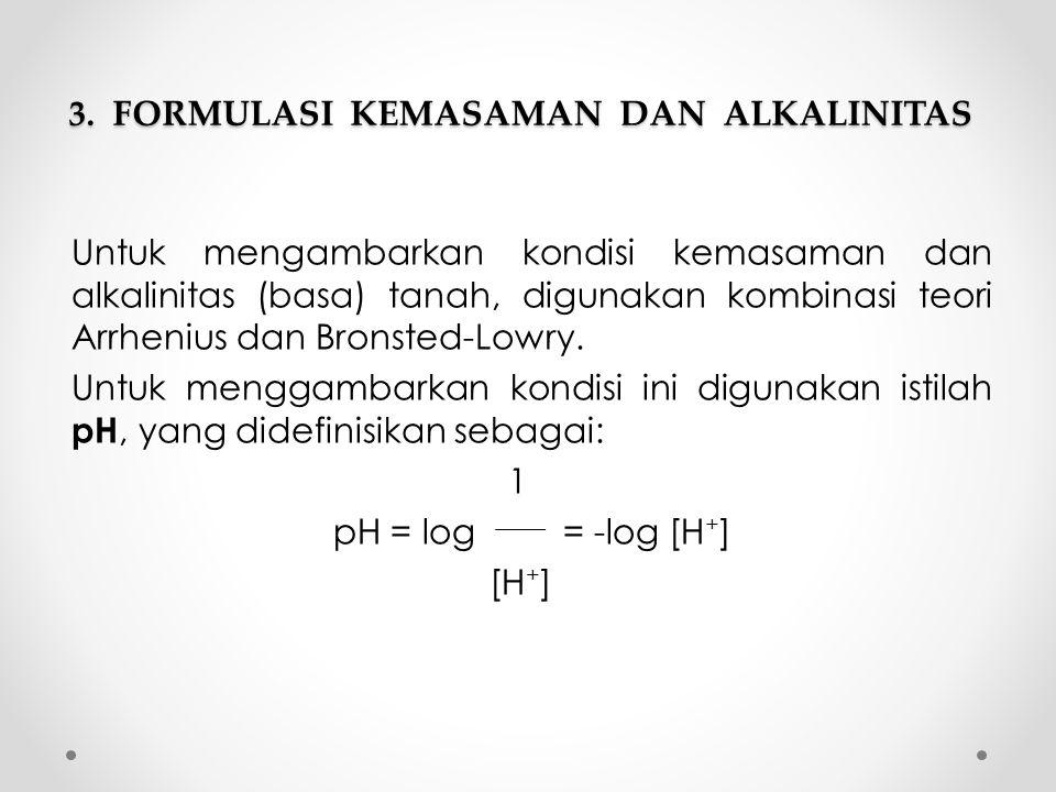 3. FORMULASI KEMASAMAN DAN ALKALINITAS Untuk mengambarkan kondisi kemasaman dan alkalinitas (basa) tanah, digunakan kombinasi teori Arrhenius dan Bron
