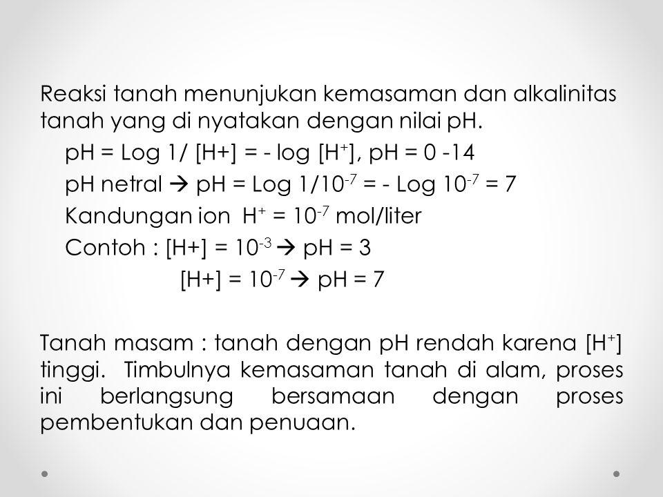 Reaksi tanah menunjukan kemasaman dan alkalinitas tanah yang di nyatakan dengan nilai pH. pH = Log 1/ [H+] = - log [H + ], pH = 0 -14 pH netral  pH =