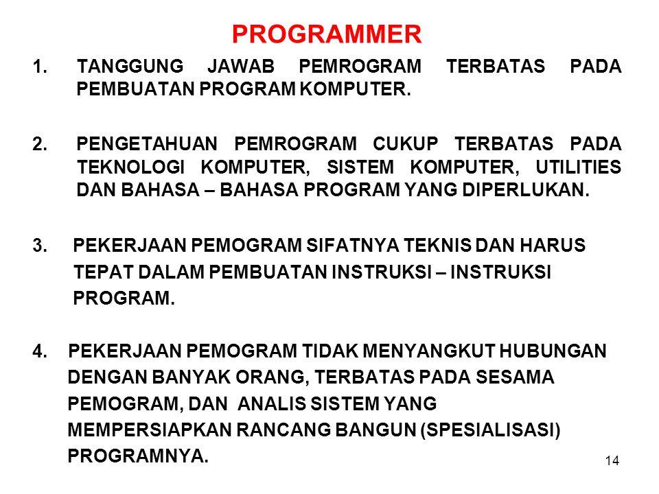 14 PROGRAMMER 1.TANGGUNG JAWAB PEMROGRAM TERBATAS PADA PEMBUATAN PROGRAM KOMPUTER.