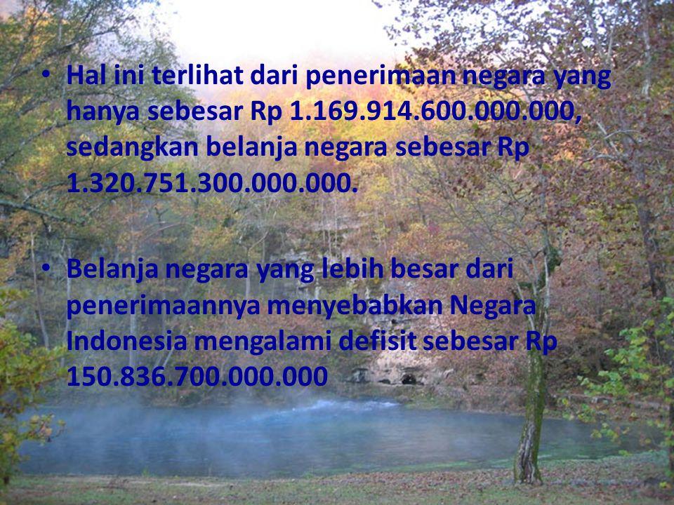 Hal ini terlihat dari penerimaan negara yang hanya sebesar Rp 1.169.914.600.000.000, sedangkan belanja negara sebesar Rp 1.320.751.300.000.000. Belanj